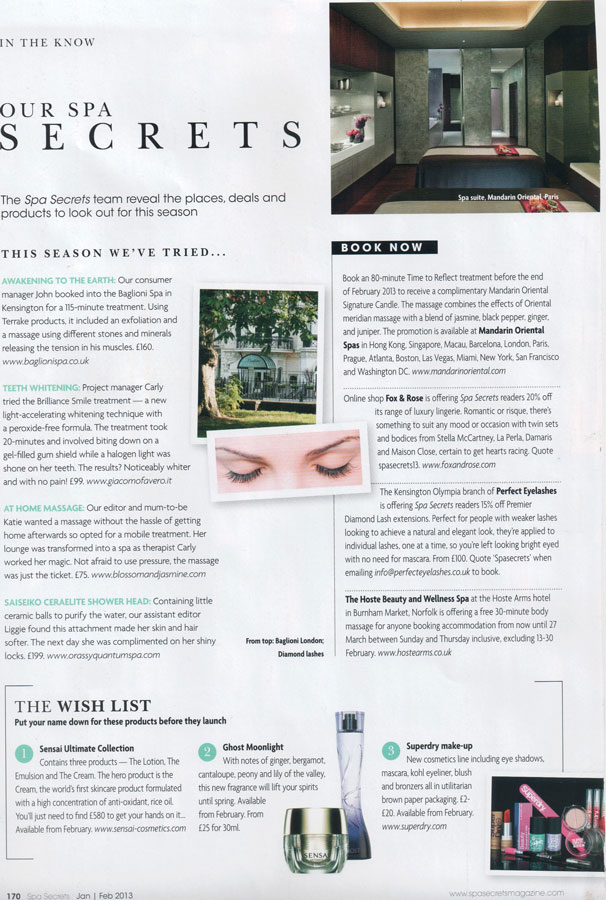 Spa Secrets, Jan 2013